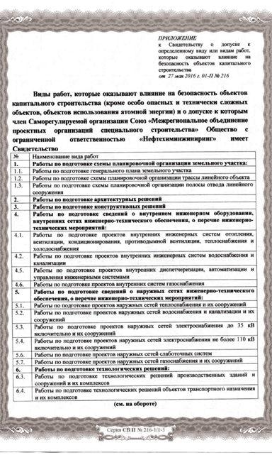 Приложение к Свидетельству МОПОСС
